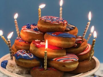 Celebrate the Fourth of July with this Celebration Donut Cake