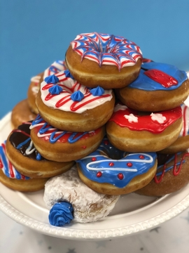 Outstanding Celebrate The Fourth Of July With This Celebration Donut Cake Personalised Birthday Cards Paralily Jamesorg