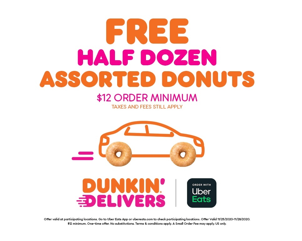 Thanksgiving Just Got Sweeter: Get a Free Half-Dozen Donuts from Dunkin' and Uber Eats