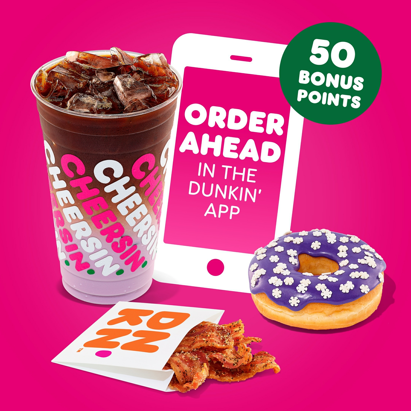Unwrap 50 Bonus Points When You Order Ahead on the Dunkin' App