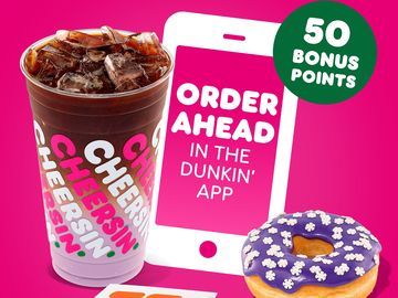 Unwrap 50 Bonus Points When You Order Ahead on the Dunkin' App
