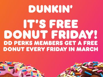 Thank Goodness It's Free Donut Fridays at Dunkin'