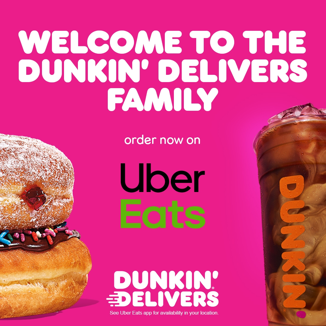 Enjoy a $0 Delivery Fee on Dunkin' Orders Through Uber Eats