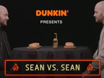Watch Sean Evans Interview Himself While Trying Dunkin's Spicy Ghost Pepper Donut