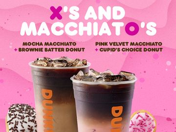 Love, Dunkin': Dunkin' Makes Valentine's Day Sweeter Than Ever with Pink Velvet and Mocha Macchiatos Paired with Heart-Shaped Donuts