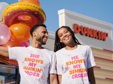 Dunkin' Wedding Merch_Couple Wearing TShirts