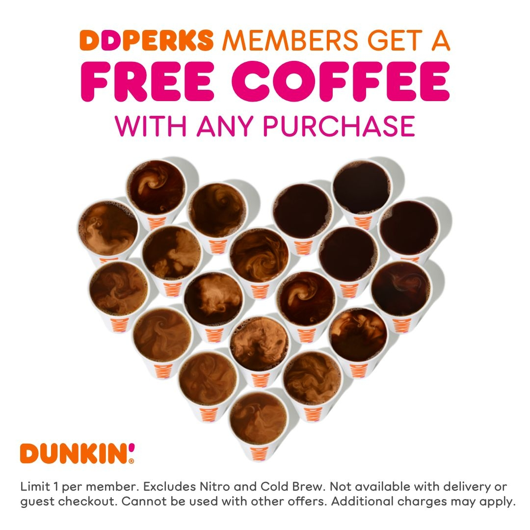 Enjoy the Perks of National Coffee Day at Dunkin':  DD Perks® Members Get a Free Medium Hot or Iced Coffee with Any Purchase