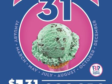 "Baskin-Robbins Holds First ""Celebrate 31"" Promotion of 2016 on Sunday, January 31st"