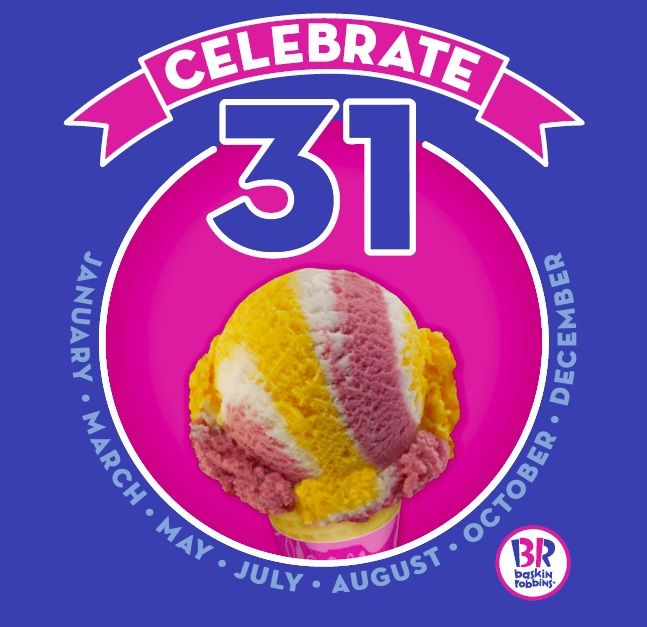 Image result for celebrate 31 baskin robbins