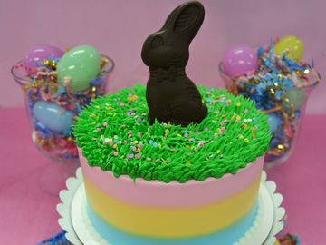 Make Your Holiday Dessert Table Pop with This Bunny Stripe Cake Tablescape from Baskin-Robbins