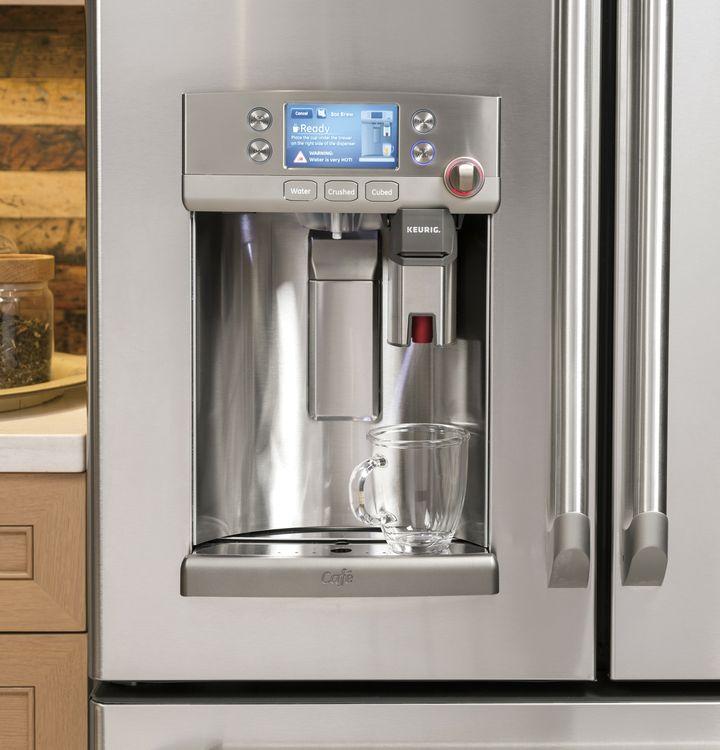 GE Café French door refrigerator with Keurig® K-Cup® single cup brewer