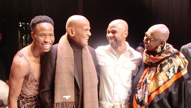 AAADT'S Jeroboam Bozeman with Harry Belafonte, Rehearsal Director Matthew Rushing and Artistic Director Emerita Judith Jamison