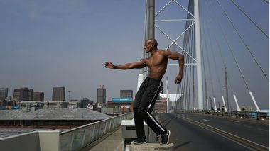 Collin Heyward on the Nelson Mandela Bridge in Johannesburg