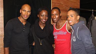 Ailey dancers Antonio Douthit-Boyd, Samuel Lee Roberts & Daniel Harder with Lupita Nyong'o backstage at Ailey's NY City Center holiday season.  Photo by Naya Samuel