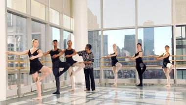 Ailey School co-director Melanie Person with students from the Professional Division