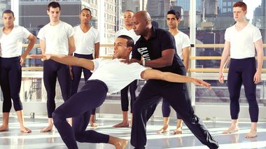 Ailey School co-director Tracy Inman with students from the Professional Division