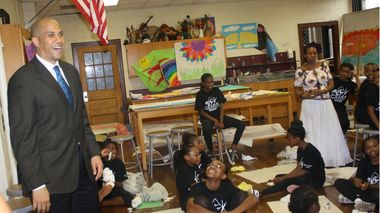 Mayor Cory A. Booker speaks to students at AileyCamp Newark