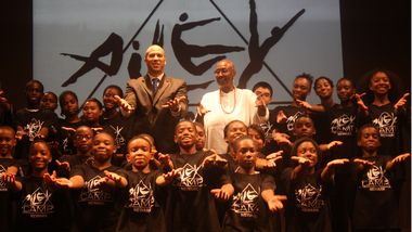 Mayor Cory A. Booker and Ailey Artistic Director Emertia Judith Jamison with Newark AileyCampers.