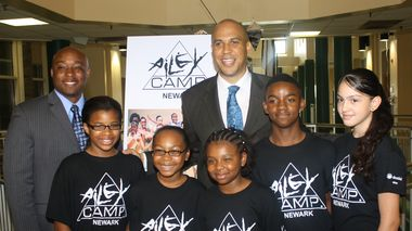 Mayor Cory Booker and Dan McNeal, Prudential Program Officer, with Newark AileyCampers