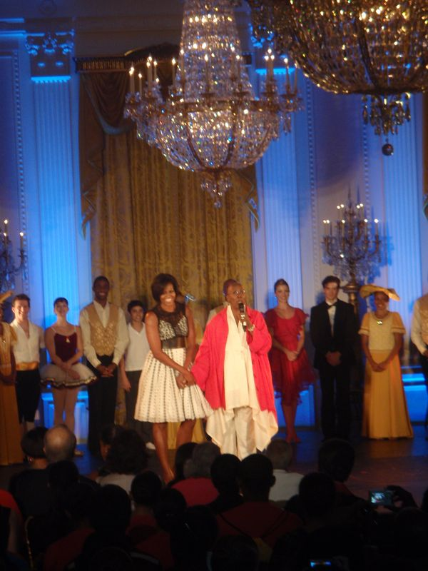 Judith Jamison and Michelle Obama onstage during the final performance tribute to Judith Jamison