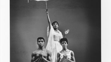 Alvin Ailey, Ella Thompson Moore and Myrna White in Alvin Ailey's Revelations. Photo by Jack Mitchell. (©) Alvin Ailey Dance Foundation, Inc. and Smithsonian Institution