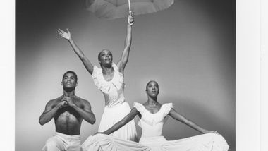 Don Bellamy, Renee Robinson, Nasha Thomas in Alvin Ailey's Revelations. Photo by Jack Mitchell. (©) Alvin Ailey Dance Foundation, Inc. and Smithsonian Institution