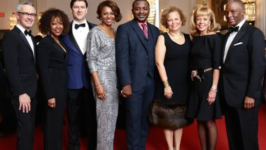 Executive Director Bennett Rink and Artistic Director Robert Battle with Gala Co-Chairs Gina Adams, Lyndon Boozer, Sela Collins, Debra Lee, Ailey Board Chairman Daria Wallach, and Chris Womack at the 2017 DC Gala