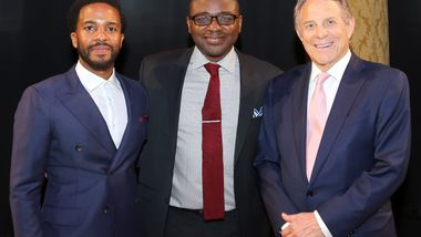Honorary Chair André Holland, Artistic Director Robert Battle, & Honoree Stephen J. Meringoff. Photo by Donna Ward.