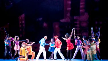 Alvin Ailey American Dance Theater in Talley Beatty's Stack Up.  Photo by Nan Melville.