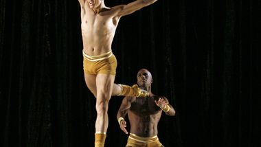 AAADT's Clifton Brown and Glenn Allen Sims in Twyla Tharp's The Golden Section.  Photo by Paul Kolnik