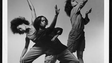 AAADT's Raquelle Chavis, Deborah Manning, Danielle Gee in Shelter. (circa 1992) Photo by Jack Mitchell. (©) Alvin Ailey Dance Foundation, Inc. and Smithsonian Institution