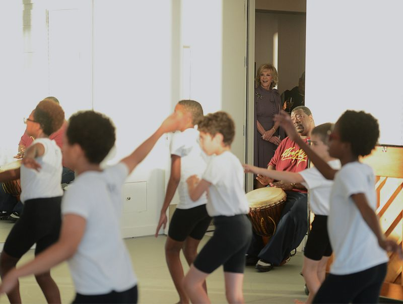 Elaine Wynn Watching The Ailey School's Ailey Athletic Boys in West African Class. Photo by Christopher Duggan.