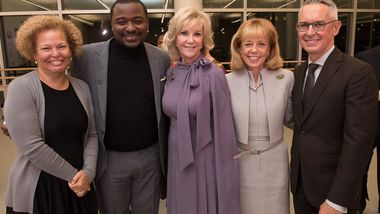 Ailey Board President Debra L. Lee with Artistic Director Robert Battle, Elaine Wynn, Chairman Daria Wallach and Executive Director Bennett Rink. Photo by Christopher Duggan
