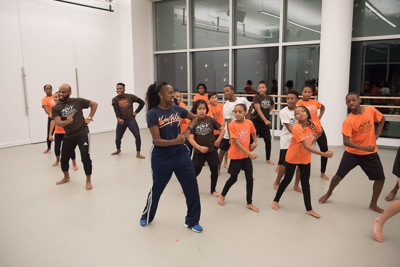 Nasha Thomas and AileyCampers in Revelations Workshop. Photo by Christopher Duggan.