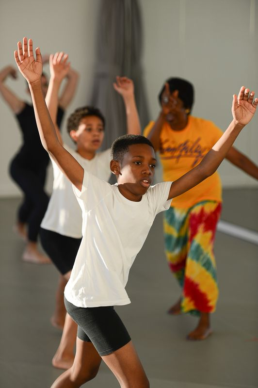 The Ailey School's Ailey Athletic Boys in West African Class during the Opening of The Elaine Wynn & Family Education Wing