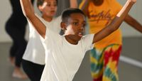 The Ailey School's Ailey Athletic Boys in West African Class. Photo by Christopher Duggan.