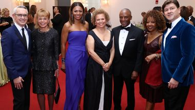 Executive Director Bennett Rink, Board Chairman Daria Wallach, Chris Womack, and Co-Chairs Sela Collins, Debra Lee, Gina Adams, and Lyndon Boozer