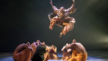 Ailey II's Kyle H. Martin and company in Robert Battle's Flock. Photo by Kyle Froman