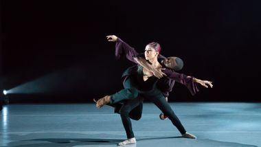 Ailey II's Arianna Salerno and Kyle H. Martin in Uri Sands' Tracks. Photo by Kyle Froman