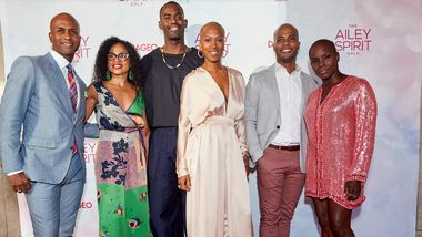 Alvin Ailey American Dance Theater's Glenn Allen Sims, Linda Celeste Sims, Jamar Roberts, Akua Noni Parker, Vernard J. Gilmore, and Hope Boykin. Photo by DCP