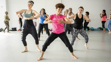 Afro Flow Yoga with Pilin Anice at Ailey Extension. Photo by Christian Miles