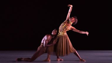 Ailey II's Corrin Rachelle Mitchell and Leonardo Brito in Troy Powell's Ebb and Flow. Photo by Kyle Froman
