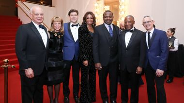 Eric Wallach, Board Chairman Daria L. Wallach, Gala Co-Chairs Lyndon K. Boozer & Sela Thompson Collins, Artistic Director Robert Battle, Chris Womack, and Executive Director Bennett Rink. Photo © Tony Powell