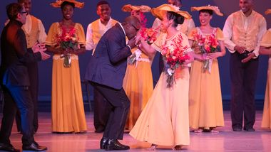 Artistic Director Robert Battle, Linda Celeste Sims, Associate Artistic Director Masazumi Chaya (far left) and the Company