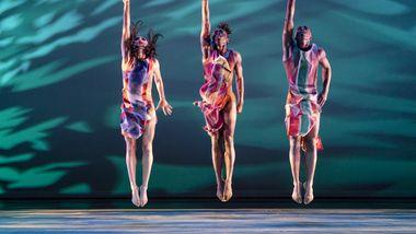 Alvin Ailey American Dance Theater's Danica Paulos, Chalvar Monteiro and Renaldo Maurice in Judith Jamison's Divining