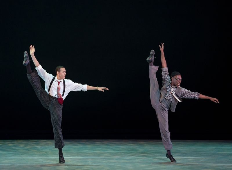 AAADT's Clifton Brown and Chalvar Monteiro in Alvin Ailey's Opus McShan from Timeless Ailey 60th Anniversary program