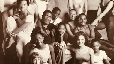Alvin Ailey in 1989 with students from The Ailey School