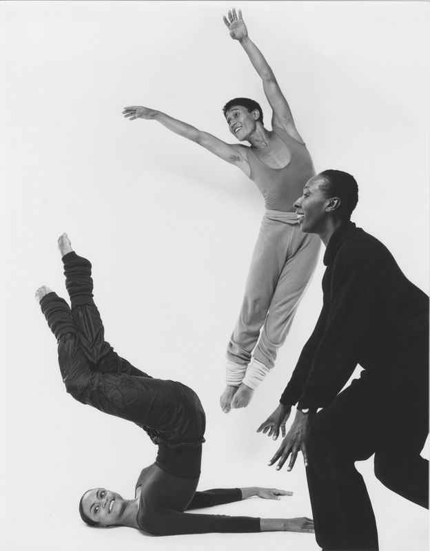 Judith Jamison rehearsing Divining with Donna Wood and Masazumi Chaya. Photo by Jack Mitchell. (©) Alvin Ailey Dance Foundation, Inc. and Smithsonian Institution