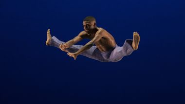 Ailey II's Elijah Lancaster in Robert Battle's Takademe. Photo by Nir Arieli
