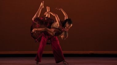 Ailey II's Jamaris Mitchell and Kyle H. Martin in Yannick Lebrun's Saa Magni. Photo by Nir Arieli
